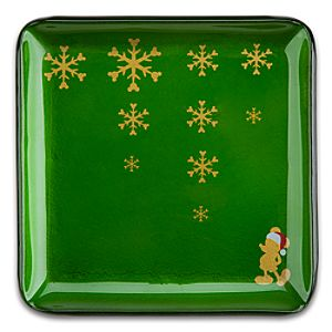 Santa Mickey Mouse Glass Glazed Holiday Plate - Green