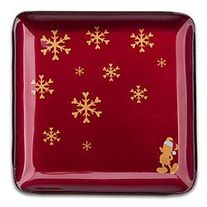 Santa Mickey Mouse Glass Glazed Holiday Plate - Red