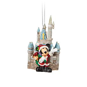 Santa Mickey & Cinderella Castle Ornament