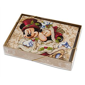 Victorian Mickey and Minnie Mouse Holiday Card Set
