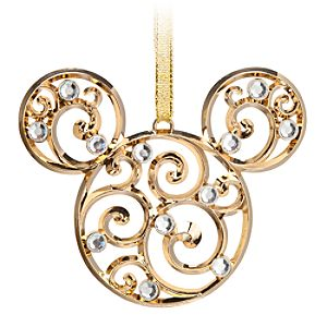 Mickey Mouse Icon Filigree Ornament - Gold