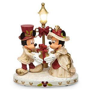 Mickey and Minnie Mouse Light-Up Victorian Holiday Figurine