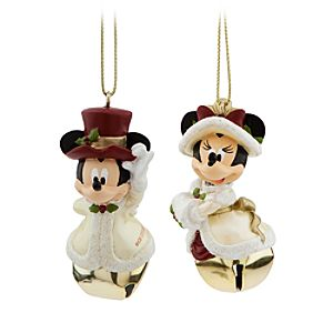 Minnie and Mickey Mouse Victorian Bell Ornament Set