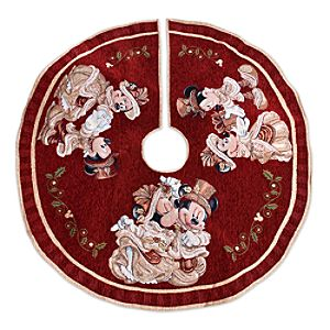 Mickey and Minnie Mouse Victorian Holiday Tree Skirt