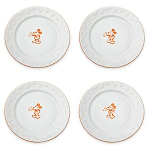 Gourmet Mickey Mouse Dinner Plate Set - White/Pumpkin