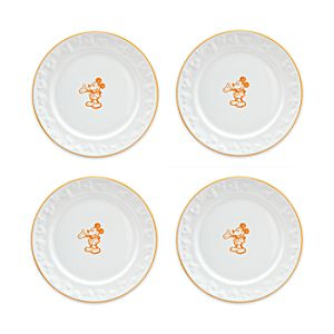 Gourmet Mickey Mouse Dessert Plate Set - White/Pumpkin