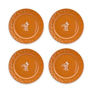 Gourmet Mickey Mouse Dessert Plate Set - Pumpkin/White