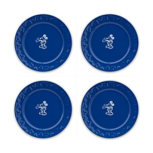 Gourmet Mickey Mouse Dessert Plate Set - Blue/White
