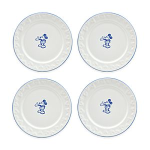 Gourmet Mickey Mouse Dessert Plate Set - White/Blue