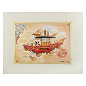 Mickey Mouse Mickeys Steam Powered Airship Deluxe Print by Mark Page