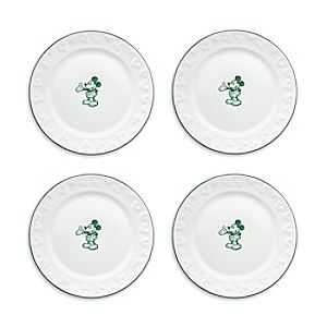 Gourmet Mickey Mouse Dessert Plate Set - White/Green