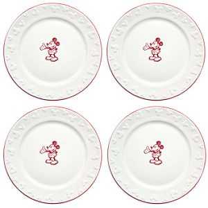Gourmet Mickey Mouse Dinner Plate Set - White/Red