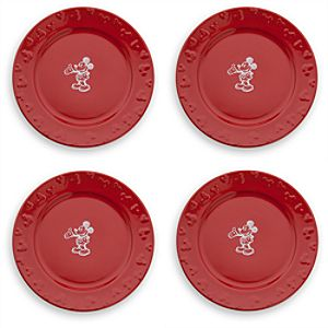 Gourmet Mickey Mouse Dinner Plate Set - Red/White