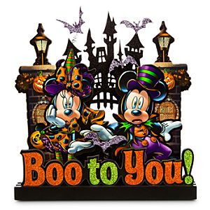 Mickey and Minnie Mouse Haunted Mansion Sign