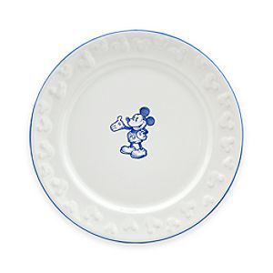 Gourmet Mickey Mouse Dessert Plate - White/Blue