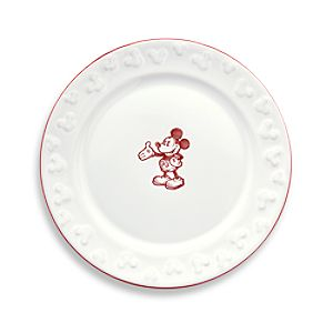 Gourmet Mickey Mouse Dessert Plate - White/Red