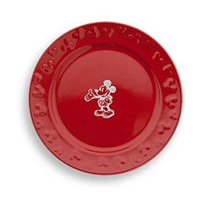 Gourmet Mickey Mouse Dessert Plate - Red/White