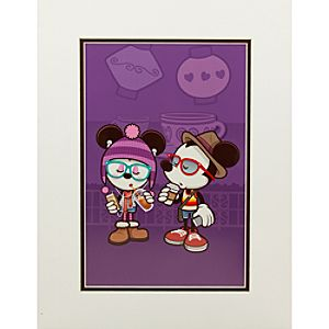 Mickey and Minnie Mouse Hipsters in Wonderland Art Print by Jerrod Maruyama