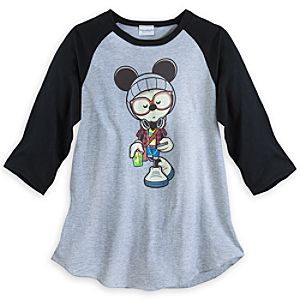 Mickey Mouse A Hipsters Life for Me Raglan Tee for Adults