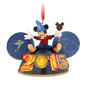 Mickey Mouse and Tinker Bell Light-Up Ear Hat Ornament - Disney Parks 2015