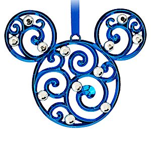 Mickey Mouse Icon Filigree Ornament - Blue