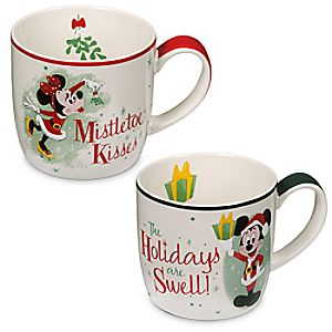 Mickey and Minnie Mouse Holiday Mug Set