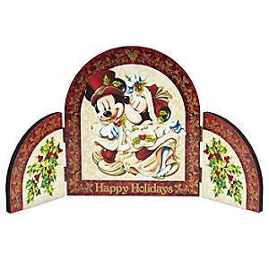 Mickey and Minnie Mouse Victorian Holiday Triptych