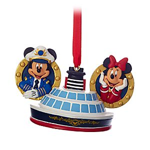 Captain Mickey and Minnie Mouse Ear Hat Ornament - Disney Cruise Line