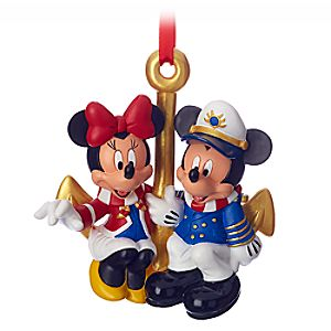 Captain Mickey and Minnie Mouse Figural Ornament - Disney Cruise Line