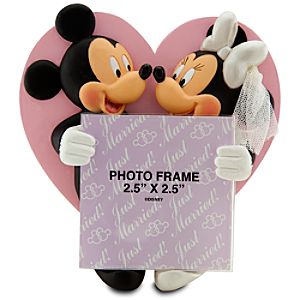 Wedding Minnie and Mickey Mouse Photo Frame Magnet -- 2 1/2 x 2 1/2
