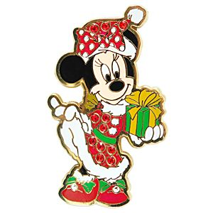Rhinestone Santa Minnie Mouse Pin