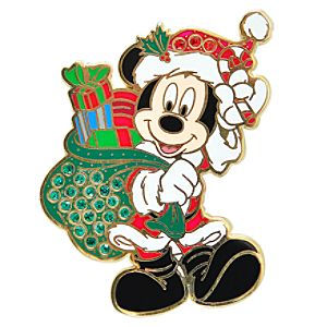 Rhinestone Santa Mickey Mouse Pin