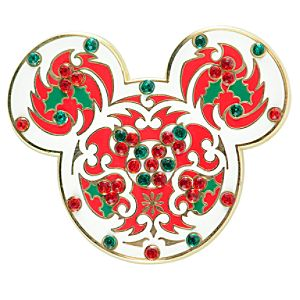 Rhinestone Holly Mickey Mouse Pin