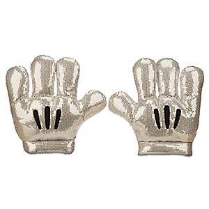 Disneyland Diamond Celebration Sequined Mickey Mitts Plush Gloves