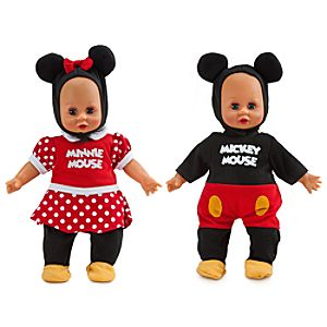 Minnie and Mickey Mouse Baby Doll Set in Rolling Travel Case