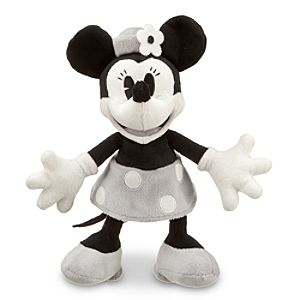 Black and White Minnie Mouse Plush -- 7 H