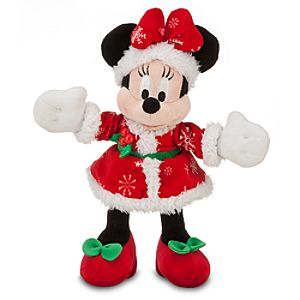 Santa Minnie Mouse Plush -- 9