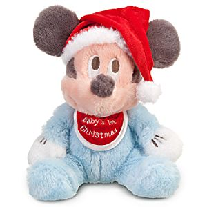 Babys First Christmas Santa Mickey Mouse Plush -- 9 H