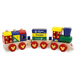 Disney Parks Mickey Mouse Wood Blocks Stacking Train Set -- 18-Pc.