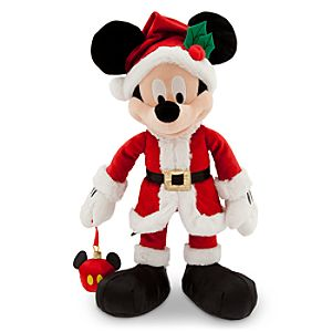 Santa Mickey Mouse Plush with Ornament - Medium - 16