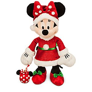 Santa Minnie Mouse Holiday Plush - Medium - 17