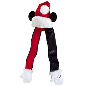 Santa Mickey Mouse Hat Scarf with Mittens for Adults