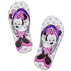Floral Minnie Mouse Flip Flops for Girls