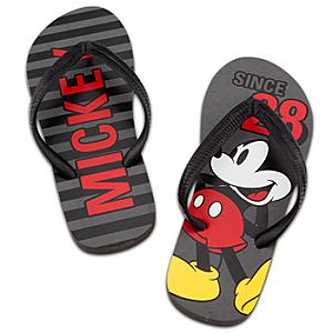 Classic Mickey Mouse Flip Flops for Men