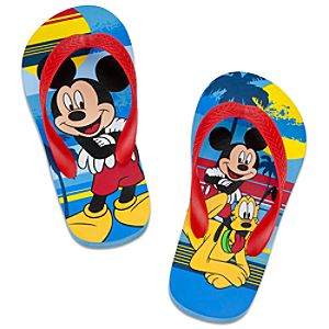Summer Brights Pluto and Mickey Mouse Flip Flops for Boys