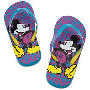 Neon Pop Mickey Mouse Flip Flops for Girls