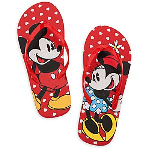 Mickey and Minnie Mouse Flip Flops for Women