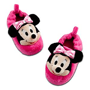 Plush Minnie Mouse Slippers for Girls