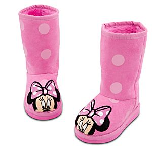 Sherpa-Lined Winter Fashion Minnie Mouse Boots for Girls