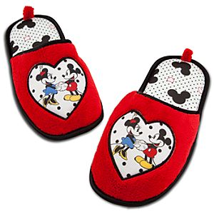 Sweetheart Minnie and Mickey Mouse Slippers for Women